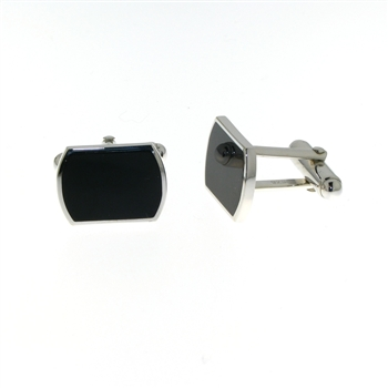 CUF1016 Sterling Silver Onyx Cuff Links