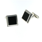 CUF1018 Sterling Silver Onyx Cuff Links