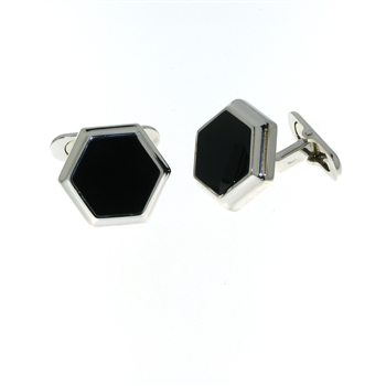 CUF1019 Sterling Silver Onyx Cuff Links