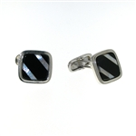 CUF1024 Sterling Silver Onyx Cuff Links
