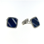 CUF1025 Sterling Silver Lapis Cuff Links