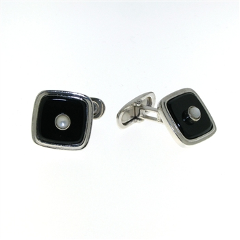 CUF1026 Sterling Silver Onyx Cuff Links