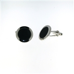 CUF1032 Sterling Silver Onyx Cuff Links