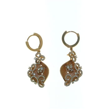 EDC0046 18k Rose Gold Diamond Earrings