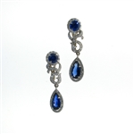 EDC0051 18k White Gold Diamond Sapphire Earrings
