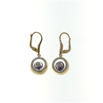 EDC0053 18k Rose Gold Diamond Amethyst Earrings