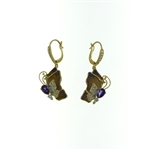 EDC0054 18k Yellow Gold Diamond Amethyst Earrings