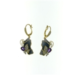 EDC0055 18k Yellow Gold Diamond Amethyst Earrings