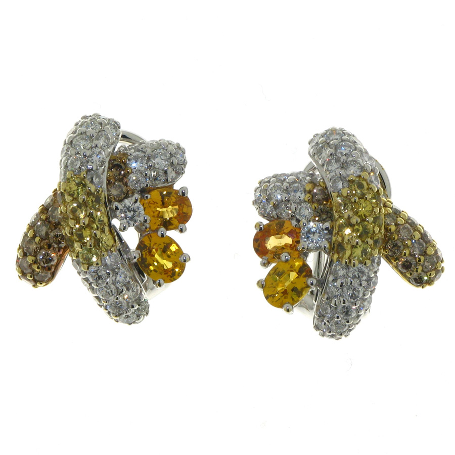 maharani products sapphire yellow diamonds earrings with sml jewels