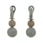 EDC01012 18k White & Rose Gold Diamond Earrings