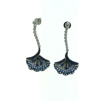 EDC01013 18k White Gold Diamond Sapphire Earrings