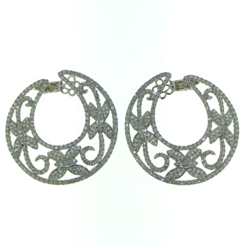 EDC01014 18k White Gold Diamond Earrings