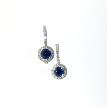 EDC01016 18k White Gold Diamond Sapphire Earrings