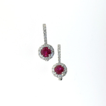 EDC01017 18k White Gold Diamond Ruby Earrings
