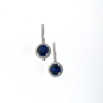 EDC01018 18k White Gold Diamond Sapphire Earrings