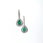 EDC01021 18k White Gold Diamond Emerald Earrings