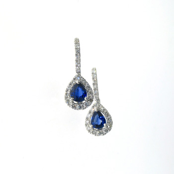 EDC01022 18k White Gold Diamond Sapphire Earrings