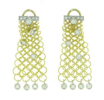 EDC1355 18k Yellow Gold Diamond Earrings