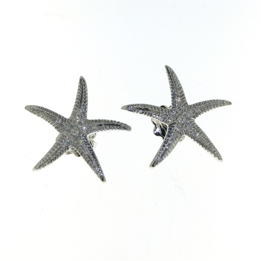 Edp01223 18k White Gold Diamond Starfish Earrings