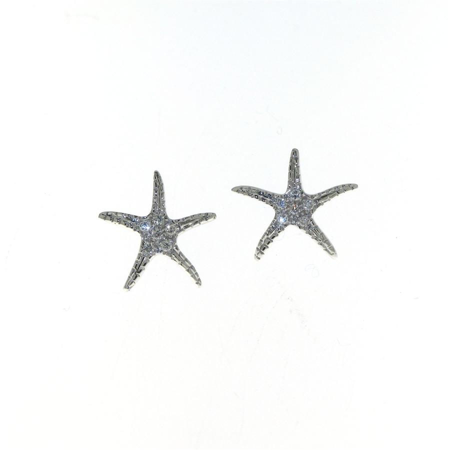Edp01225 18k White Gold Diamond Starfish Earrings