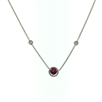 NEC1019 18k White Gold Diamond Ruby Necklace