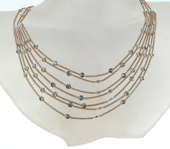 NEC1029 18k Rose Gold Diamond Necklace