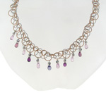 NEC1086 18k White & Rose Gold Diamond Sapphire Necklace