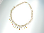 NEC1087 18k Rose & Yellow Gold Diamond Sapphire Necklace
