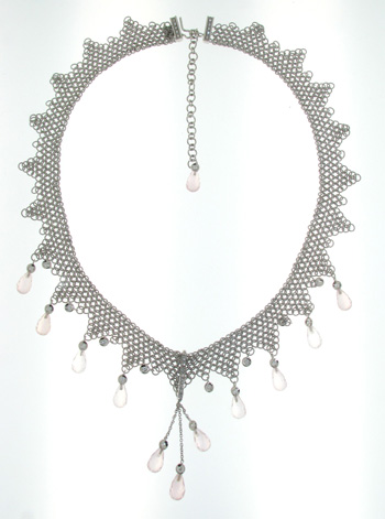 NEC1094 18k White Gold Diamond Pink Quartz Necklace