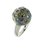 R000018 18k White Gold Multi-Gem Ring