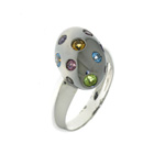 R000019 18k White Gold Multi-Gem Ring