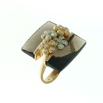 RLD0005 18k Rose Gold Diamond Smokey Topaz Ring