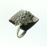 RLD0006 18k White Gold Diamond Smokey Topaz Ring