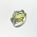 RLD0007 18k White Gold Diamond Lemon Quartz Ring