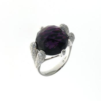 RLD0009 18k White Gold Diamond Amethyst Ring