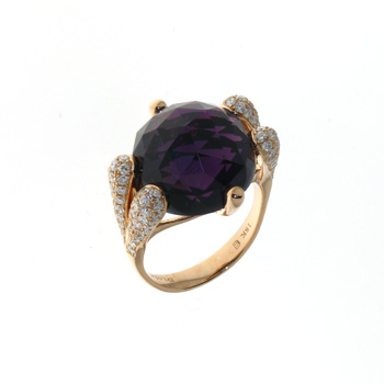 RLD0010 18k Rose Gold Diamond Amethyst Ring