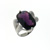 RLD0011 18k White Gold Diamond Amethyst Ring