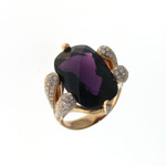 RLD0012 18k Rose Gold Diamond Amethyst Ring