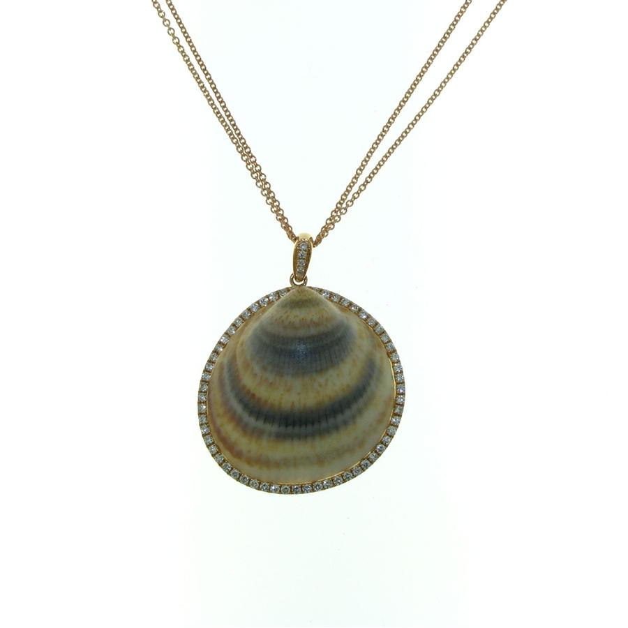 18k rose gold diamond 77 carat finished seashell pendant with