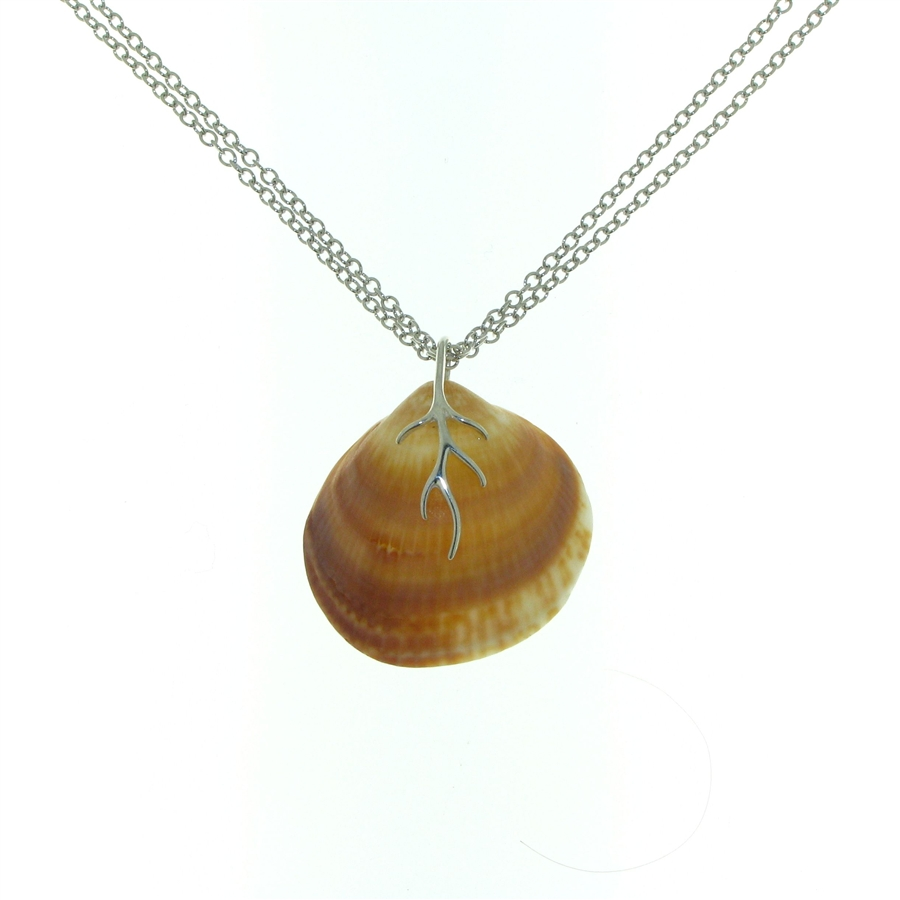 Sterling silver seashell pendant and double wrapped necklace sg1014 shibui sterling silver seashell necklace aloadofball Gallery