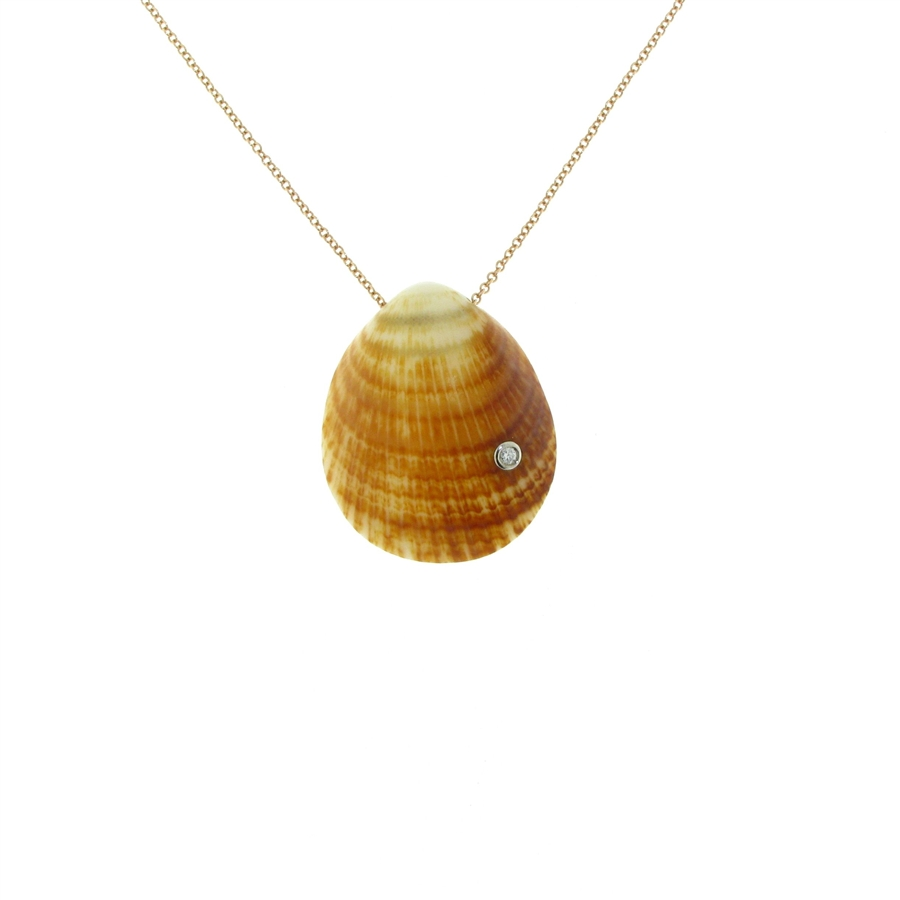 18k rose gold diamond bezelset pearlbacked seashell with 14k