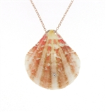 SG1089 Sterling Silver Diamond Seashell Pendant