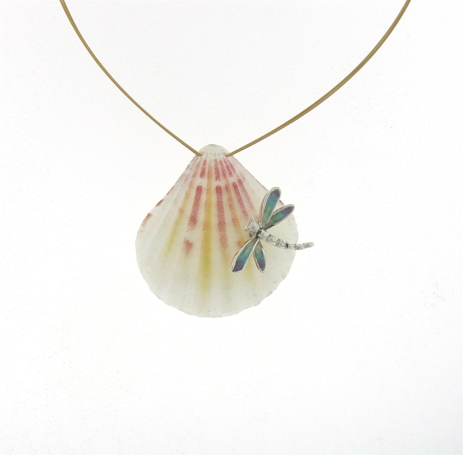 Wired pearl backed sterling silver enameled dragonfly seashell pendant sg1099 sterling silver seashell necklace aloadofball Images