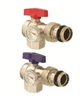 "Angle Isolation Valve 1"" With Thermometer - Red Handle"
