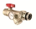 "Angle Isolation Valve 1"" With Thermometer, Y Strainer - Red"