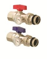 "Isolation Valve 1"" With Thermometer - Red Handle"
