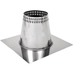 6 inch Ventis Class-A Solid Fuel Chimney Galvalume Vented Roof Flashing Flat