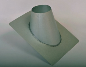 7 inch Ventis Class-A Solid Fuel Chimney Galvalume Non-Vented Roof Flashing 0/12-6/12 Pitch