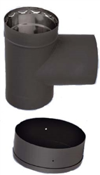 "VDB06T - 6"" Ventis Double-Wall Black Stove Pipe 430 Inner, Tee With Cap"