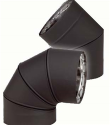 "VDB0745F - 7"" Ventis Double-Wall Black Stove Pipe, 45 Degree Fixed Elbow,  430 Inner/Satin Coat Steel Outer"